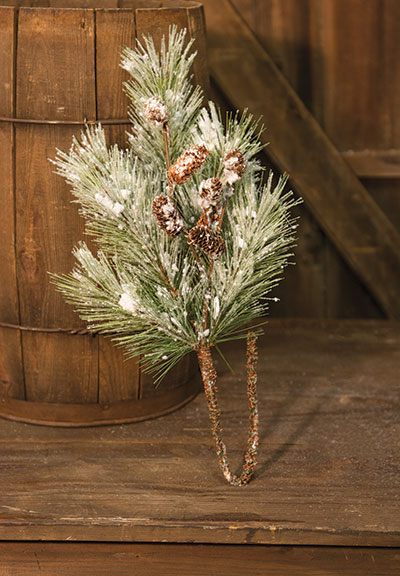 Flocked Pine Spray 24""