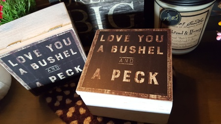 small wood box LOVE YOU BUSHEL & A PECK