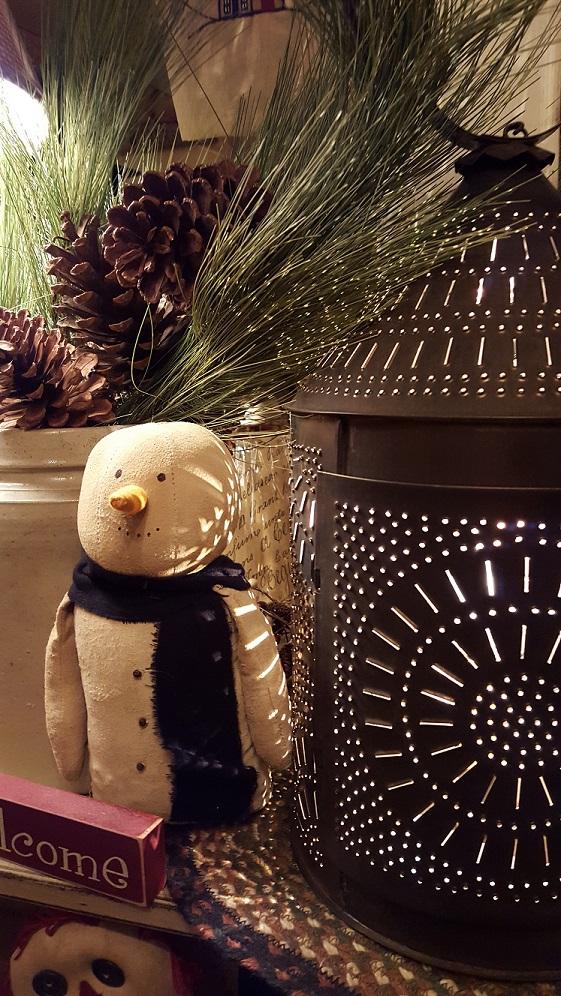 Irvins fireside lantern w handmade mass snowman