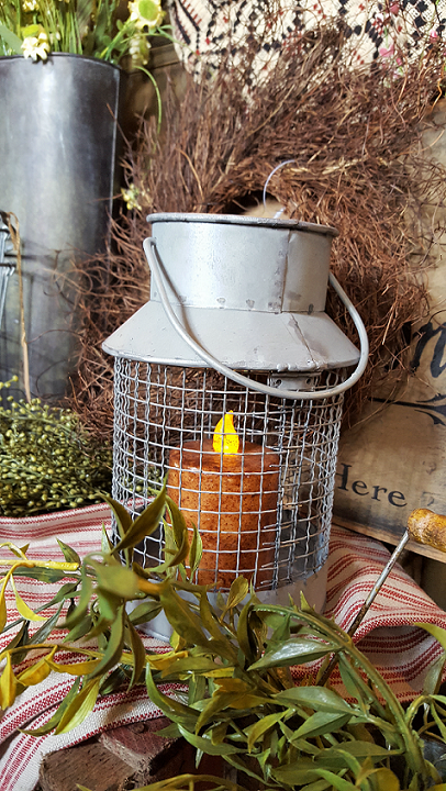 farmhouse style rustic chicken wire lantern