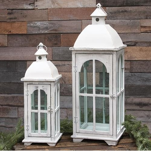 Large Nesting wood Lantern (white)