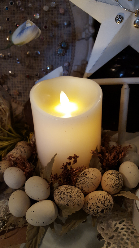 luminara candle w egg candle ring