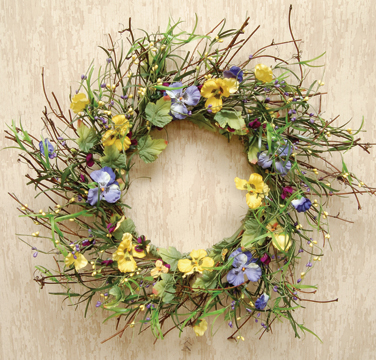 mixed pansy wreath