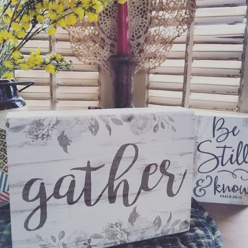 small GATHER wood sign