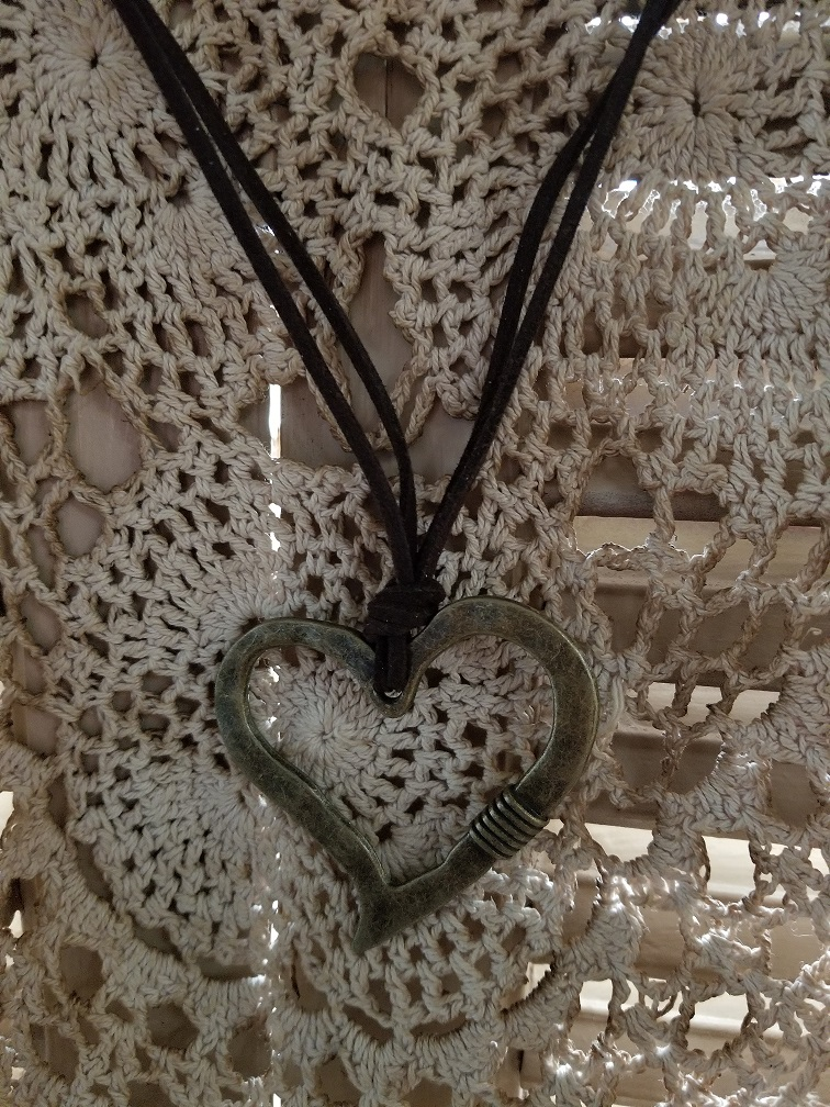 leather rustic heart necklace