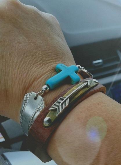 turquiose cross bracelet