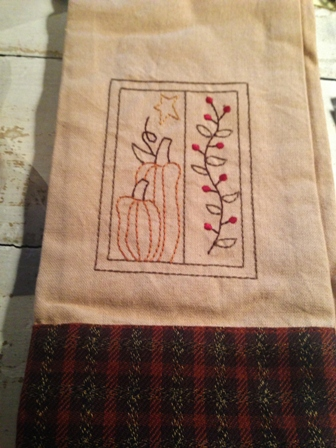 Fall Pumpkin Stitched Dish Towel